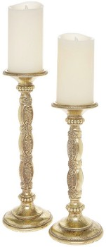 Heirloom-Resin-Antiqued-Gold-Candle-Pedestal-Set-of-2-26-and-36cm on sale