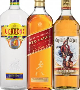 Gordons-Gin-Johnnie-Walker-Red-Label-Scotch-or-Captain-Morgan-Spiced-Gold-1-Litre on sale