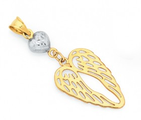 9ct-Gold-Two-Tone-Angel-Wings-Pendant on sale