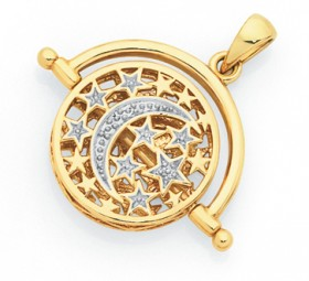 9ct-Gold-Two-Tone-Crescent-Moon-Stars-Spinner-Pendant on sale