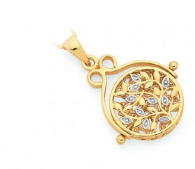 9ct-Gold-Two-Tone-Filigree-Spinner-Disc-Pendant on sale