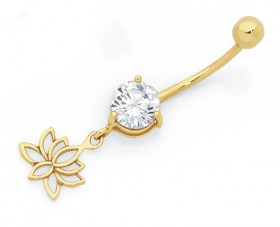9ct-Gold-Cubic-Zirconia-Lotus-Flower-Drop-Belly-Bar on sale