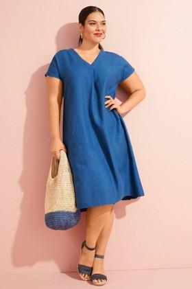Sara-V-Neck-Linen-Blend-Dress on sale
